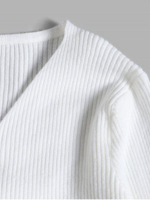 羅紋喇叭袖修身收緊毛衣 - 白色 One Size Mobile