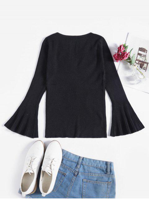 Gerippter Schmaler Pullover mit Ausgestelltem Ärmel - Schwarz Eine Größe Mobile