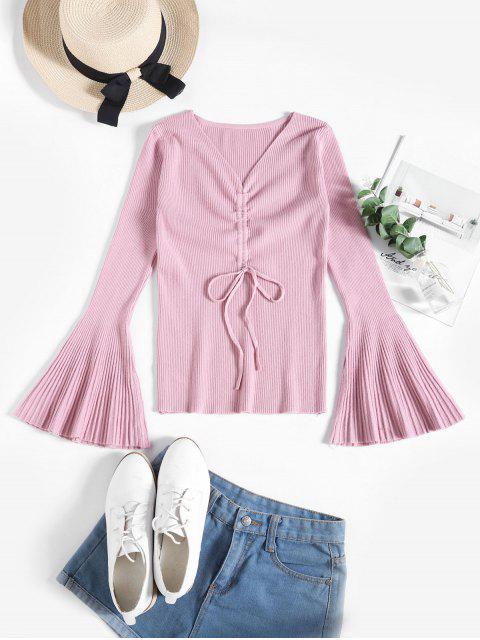Gerippter Schmaler Pullover mit Ausgestelltem Ärmel - Rosa Eine Größe Mobile