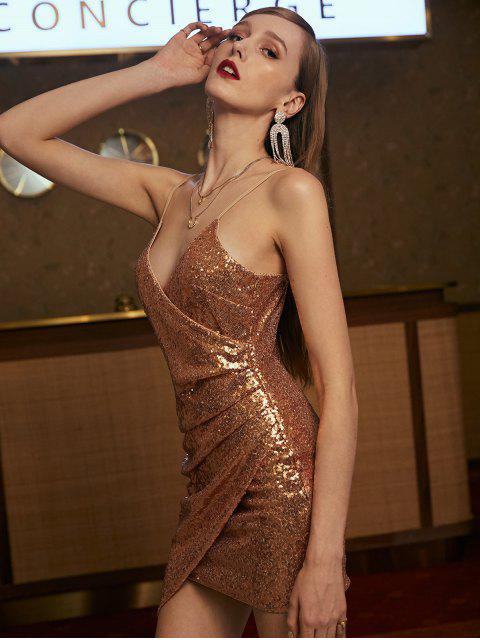 ZAFUL Pailletten Drapierte Cami Mini Party kleid - Champagner Gold XL Mobile