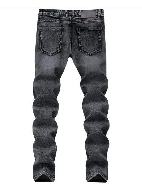 fancy Zip Fly Long Straight Denim Pants - DENIM DARK BLUE 36 Mobile