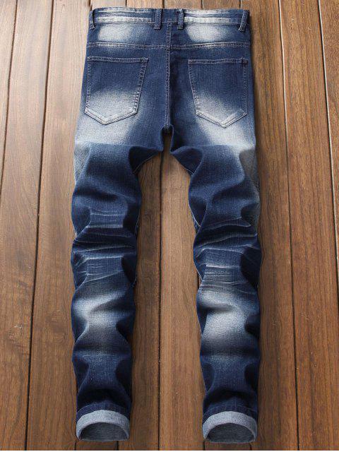 Patchworks Drape Panel Verzierte Jeans - Tiefes Blau 40 Mobile