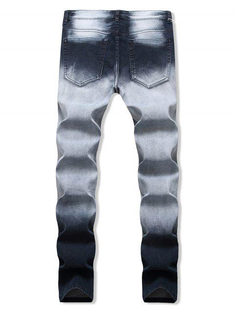 Ombre Druck Ausgefranste Design Jeans - Tiefes Blau 40 Mobile