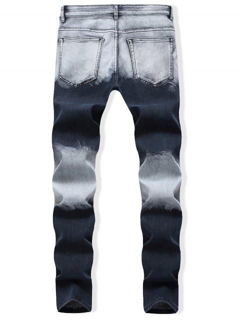 色塊銷毀休閒牛仔褲 - 深藍 36 Mobile