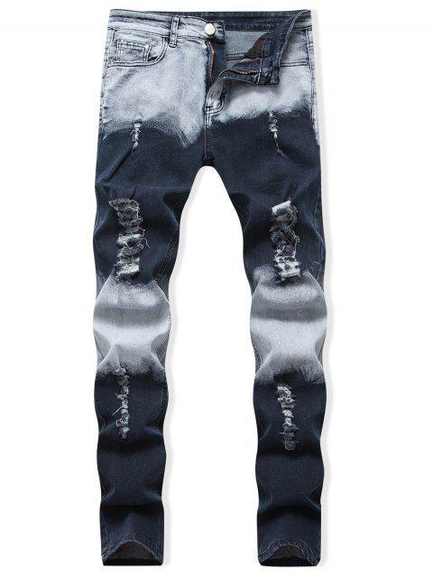 色塊銷毀休閒牛仔褲 - 深藍 40 Mobile