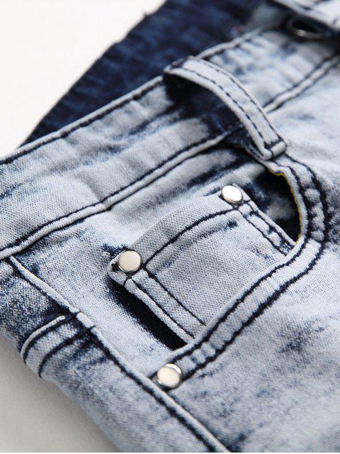 Tupfendruck Reißverschluss Lässige Jeans - Tiefes Blau 34 Mobile