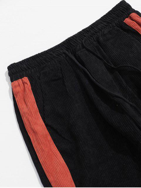 色拼接鬆緊腰圍休閒褲 - 黑色 S Mobile