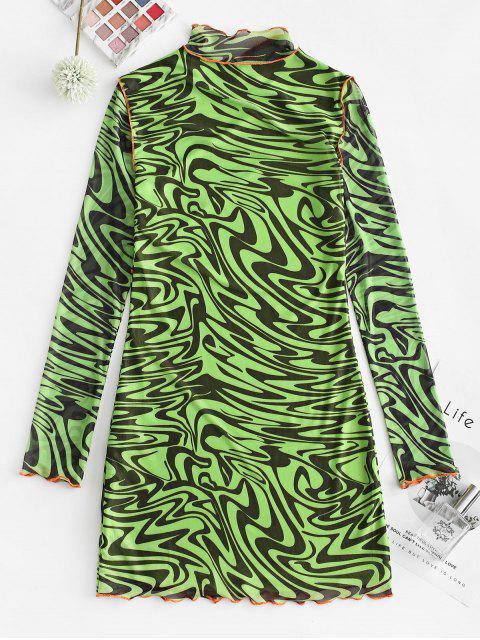 ZAFUL Figurbetontes Kleid mit Kontrastnähten und Stehkragen - Multi S Mobile