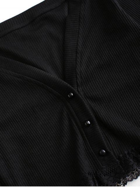 羅紋蕾絲插入切入作物外套 - 黑色 M Mobile