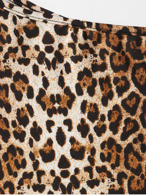 fashion ZAFUL Leopard Animal Print One Shoulder Bodysuit - LEOPARD M Mobile