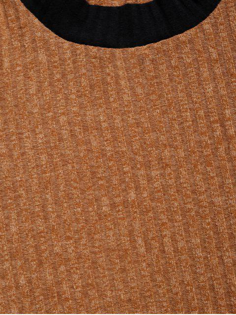 ZAFUL Farbblock Gespleißte Lässige Pullover Sweatshirt - Goldrute 2XL Mobile
