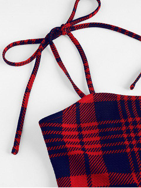 ZAFUL Robe Moulante Simple à Epaule Nouée à Carreaux - Rouge Lave S Mobile