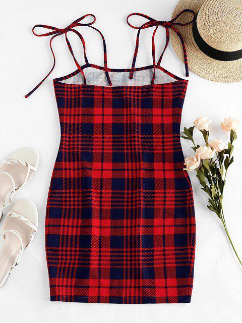 ZAFUL Robe Moulante Simple à Epaule Nouée à Carreaux - Rouge Lave XL Mobile