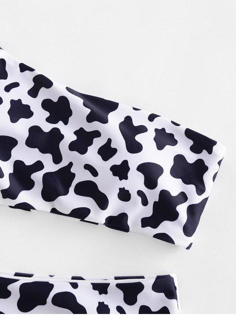 ZAFUL牛打印單肩高切比基尼泳裝 - 白色 M Mobile