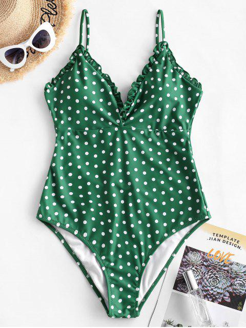unique ZAFUL Frilled Trim Polka Dot Vintage One-piece Swimsuit - PINE GREEN S Mobile