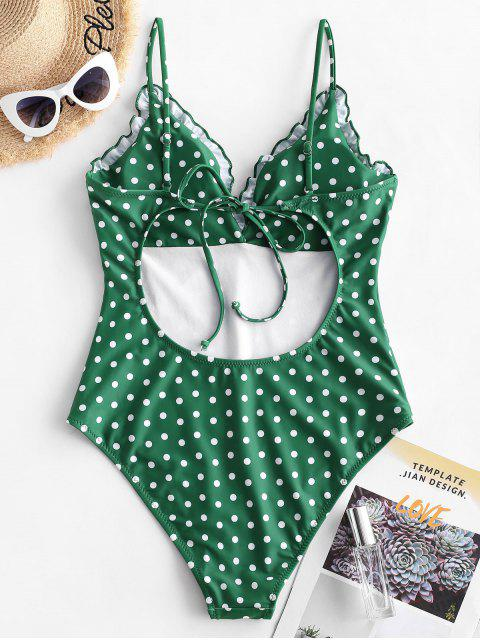 unique ZAFUL Frilled Trim Polka Dot Vintage One-piece Swimsuit - PINE GREEN M Mobile