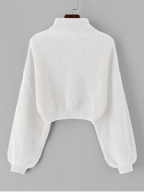 ZAFUL Turtleneck Laternenärmel Zugeschnitter Pullover - Weiß S Mobile