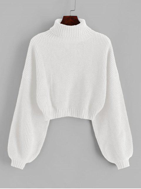 shop ZAFUL Turtleneck Lantern Sleeve Cropped Sweater - WHITE S Mobile