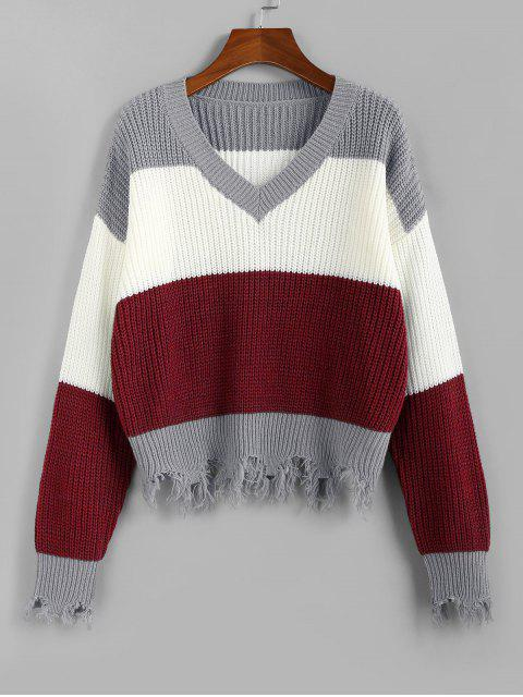 latest ZAFUL Colorblock Frayed Sweater - FIREBRICK M Mobile