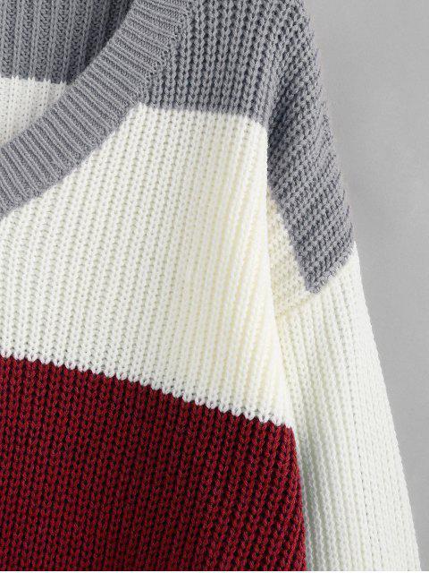 ZAFUL Colorblock ausgefranste Sweater - Schamotte S Mobile