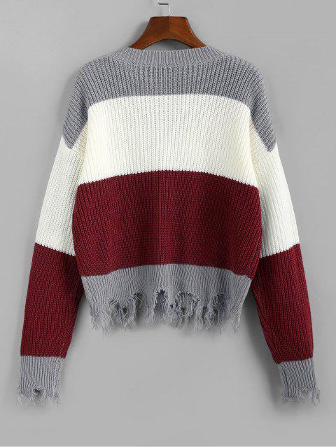 womens ZAFUL Colorblock Frayed Sweater - FIREBRICK S Mobile