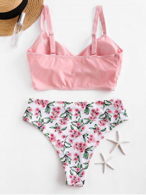 ZAFUL floral Sobrepelliz High Cut Tankini del traje de baño - Rosado M Mobile