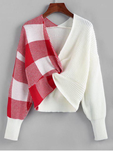 ZAFUL格紋扭降肩跳線毛衣 - 白色 L Mobile