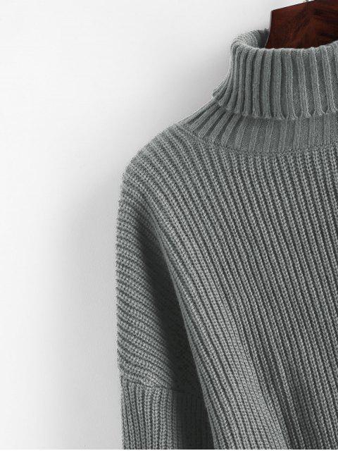 ZAFUL Turtleneck Laternenärmel Zugeschnitter Pullover - Grau M Mobile