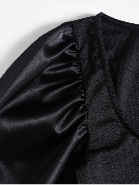 lady Satin Puff Sleeve Square Neck Short Dress - BLACK L Mobile