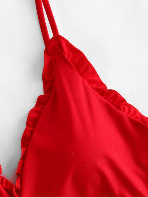 ZAFUL領帶荷葉邊腰背連體泳衣 - 熔岩紅 XL Mobile