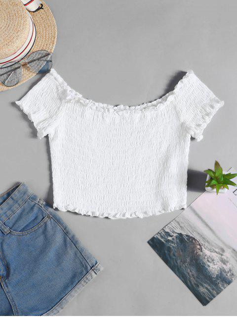 womens ZAFUL Frilled Off The Shoulder Smocked Top - WHITE S Mobile