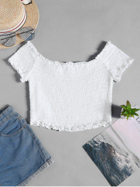 women ZAFUL Frilled Off The Shoulder Smocked Top - WHITE M Mobile