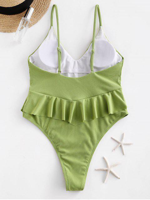 ZAFUL羅紋荷葉邊高切Peplum泳裝 - 淺綠色 M Mobile