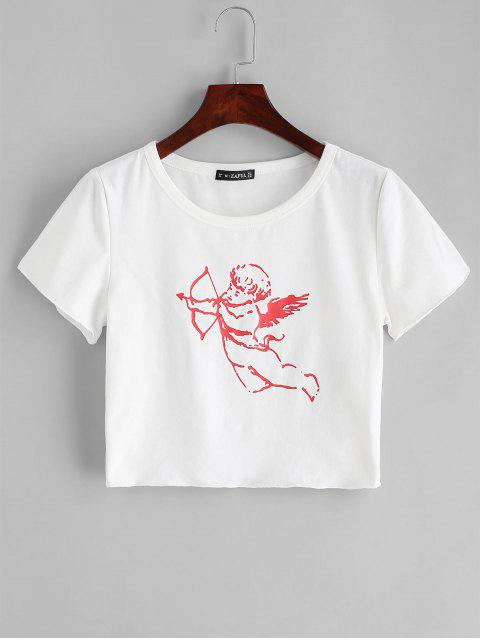 lady ZAFUL Angel Print Crop Round Neck Tee - WHITE M Mobile