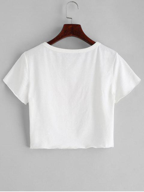 outfits ZAFUL Angel Print Crop Round Neck Tee - WHITE S Mobile