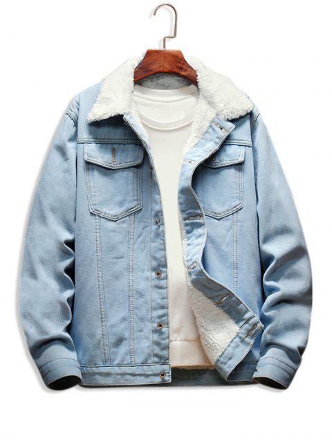 Veste Boutonnée à Doublure en Laine en Denim - Bleu clair XS Mobile
