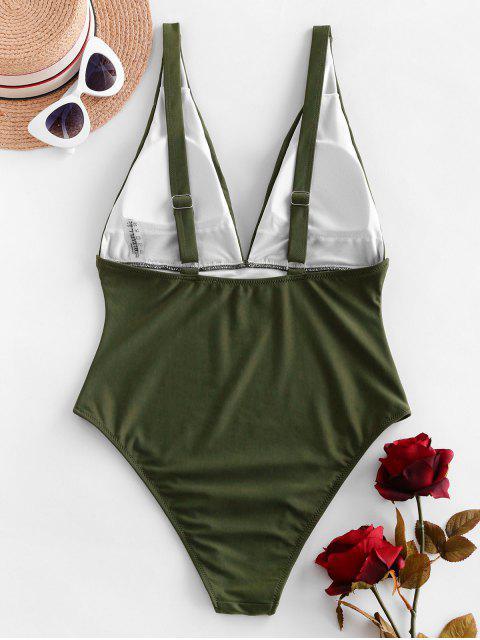 ZAFUL褶飾投身連體泳裝 - 淡褐綠色 L Mobile