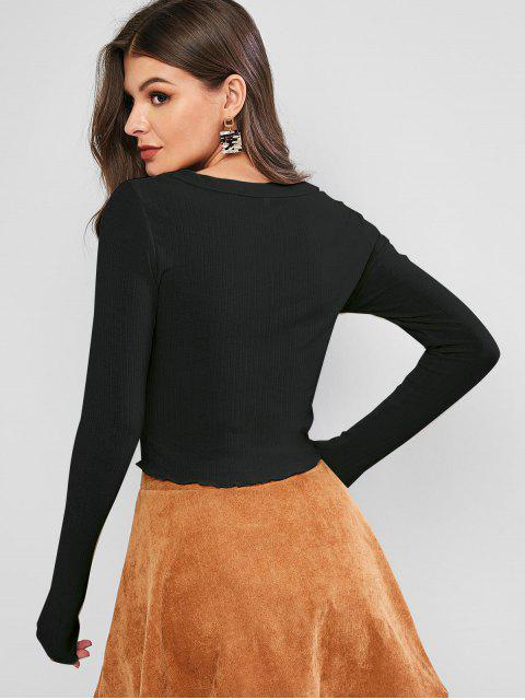 trendy ZAFUL Lettuce Trim Buttoned Front Ribbed Top - BLACK M Mobile