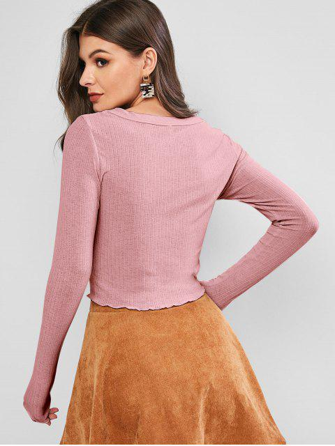 chic ZAFUL Lettuce Trim Buttoned Front Ribbed Top - PINK L Mobile