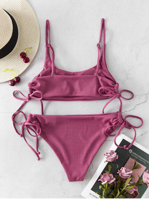 ladies ZAFUL Ribbed Tie High Cut Bikini Swimsuit - LIPSTICK PINK L Mobile
