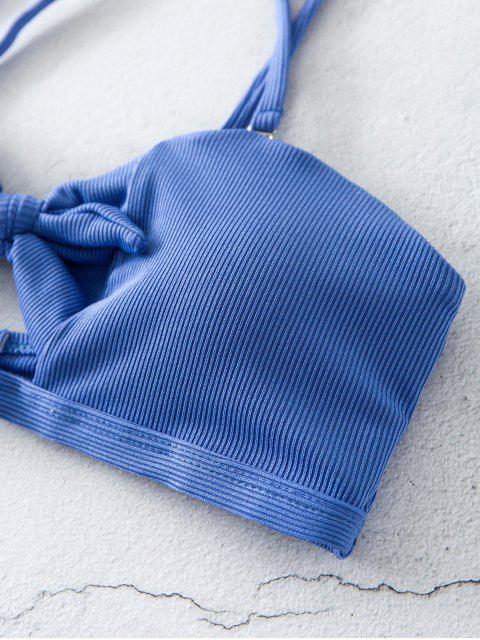 ZAFUL Maillot de Bain Bikini Côtelé Noué à Coupe Haute - Bleu M Mobile