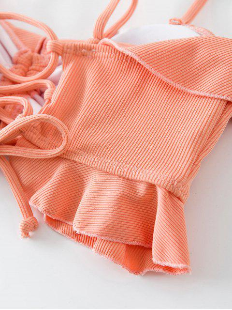 ZAFUL Bikini-Top mit Gerippten Schnürung - Dunkler Pfirsich M Mobile