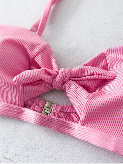 womens ZAFUL High Cut Ribbed Knot Bikini Swimsuit - FLAMINGO PINK M Mobile