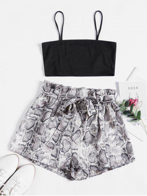 women ZAFUL Snake Print Belted Co Ord Set - BLACK L Mobile