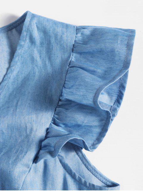 ZAFULChambray-Stoff Wickelkleid mit Rüschen - Denim Blau S Mobile
