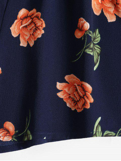 ZAFUL Flower Stampa Surplice Cinched Tie pagliaccetto - Cadetblue XL Mobile