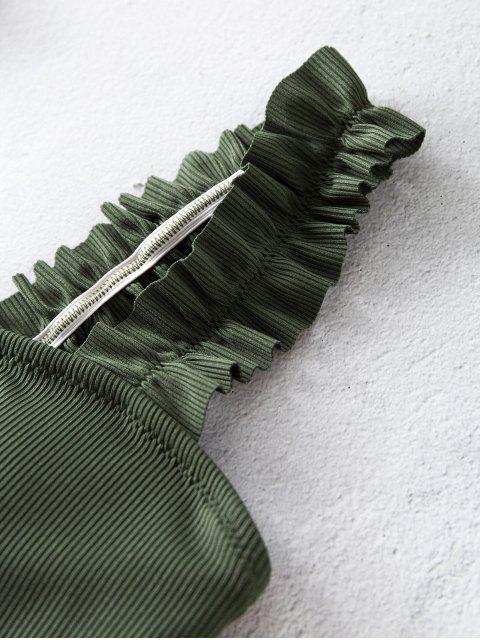 ZAFUL Badebekleidung mit Geripptem Quadratischem Ausschnitt und Rüschen - Rehbraunes Grün S Mobile