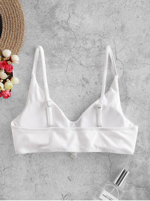 ZAFUL Top de Bikini Acanalado con Nudo Lateral - Blanco S Mobile