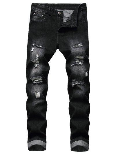 Distressed Ripped Long Zip Fly Denim Pants - Black 34