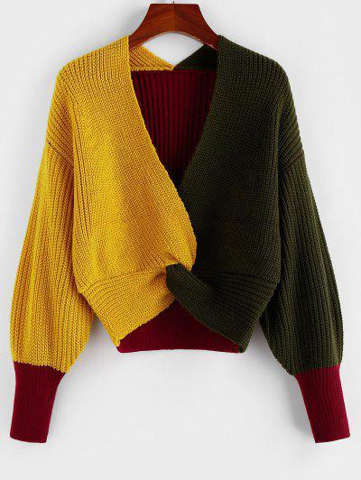 Plunge Colorblock Twist Sweater - Multi-e M
